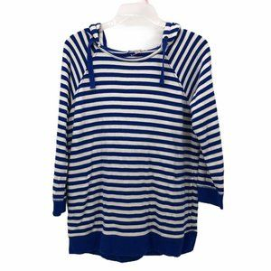Gap Womens Pullover Hoodie Blue White Stripe Sz M